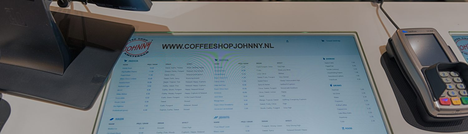 Picture showing the Coffeeshop Menu displayed in the counter at Coffeeshop Johnny Amsterdam